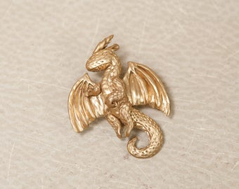 Gold Dragon Pin, Dragon Brooch, Golden Dragon Pinback, Dragon Jewelry, Magical Brooch, Fantasy Jewelry, Costume Jewelry, Costume Accessory