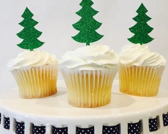 12 Christmas Tree Cupcake Toppers - Green Glitter - Christmas Party - Holiday - Red and Green - Santa - Holiday Baking - Christmas Eve