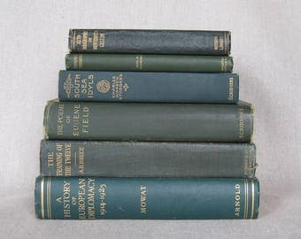 Vintage Dark Green Book Bundle, Decorative Book Set