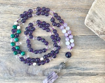 Amethyst and Malachite 108 Mala Bead Necklace /Meditation Beads / Knotted Yoga Necklace / Japa Mala /Meditation Gifts / Amethyst Yoga Beads