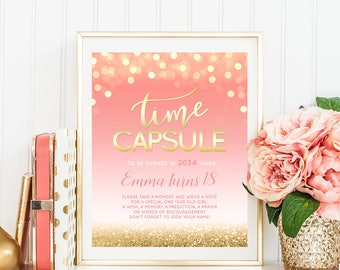 Pink And Gold Time Capsule Sign Baby Girl Birthday Party Decor Pink And Gold Birthday Printable Time Capsule Print Bokeh DIGITAL DOWNLOAD