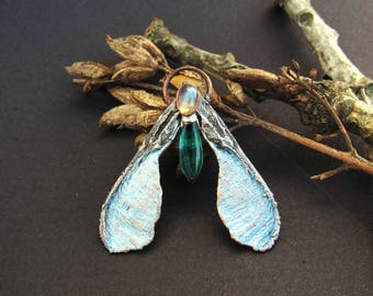 copper maple moth silver blue pendant with glass drop