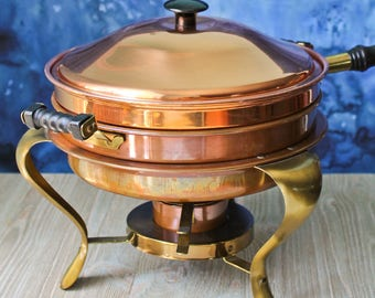 Copper and Brass Chafing Dish/Pan/Fondue Vintage Serving and Warming Double Boiler: Five Piece Set Mid Century Pan