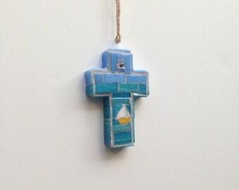 Caribbean Sailing Mosaic Wall Cross or Ornament