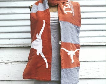 T-Shirt Scarf - LONGHORNS - UT - University of Texas Scarf - T-Shirt Patched Scarf - Fall Scarf - #1 - BM