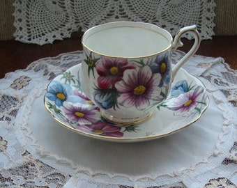 """Royal Albert Hand Painted Flower of the Month Series """"Cosmos"""" - No. 10 October -  Bone China England - Vintage Tea Cup and Saucer"""
