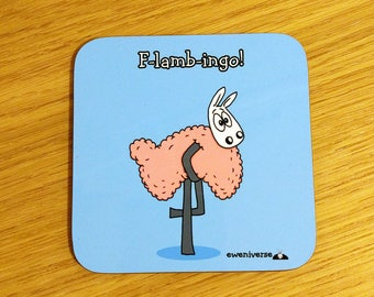 F-lamb-ingo!, Funny punny coaster, funny mat, Flamingo gift, cute drinks mat, fun homeware, Sheep gifts, Colourful homeware, puns