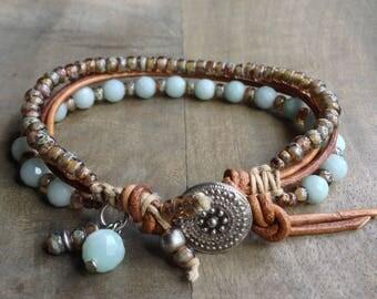 Amazonite bohemian bracelet boho chic bracelet womens jewelry gift for her rustic bracelet gemstone bracelet boho chic jewelry