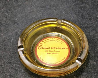 Vintage Ashtray from Colonial Motor Inn In Reno Nevada 4 Inch Amber     01852