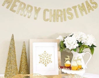 MERRY CHRISTMAS BANNER | Gold Glitter Merry Christmas Banner | Merry Christmas Sign | Christmas Garland | Merry Christmas Photo Sign