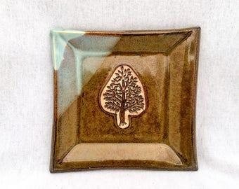 Square ceramic plate/ dish, brown and light blue glaze, tree stamp appliqué, tree plate, square tree plate, tree pottery, stoneware
