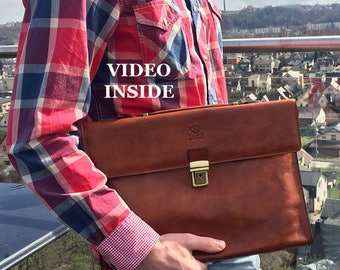 Mens laptop bag, Work bag, leather briefcase, Brown leather bag, laptop bag, shoulder bag men, leather Messenger - Moonheart