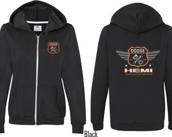Ladies Dodge Garage Hemi Front & Back Print Full Zip Hoody 20415E4-FB-71600FL