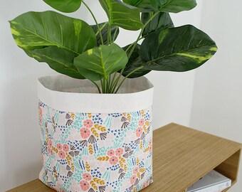 Extra large floral storage basket. Fabric basket. Modern nursery storage. Pastel floral. Baby shower gift