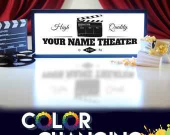 Theater Sign, Movie Theater Decor, Personalized Theater Sign, Movie Theater Sign, Theater Room Decor, Theater Sign, Light Up Sign