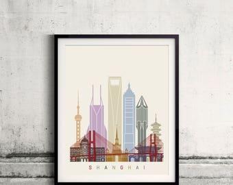 Shanghai skyline poster - Fine Art Print Landmarks skyline Poster Gift Illustration Artistic Colorful Landmarks - SKU 2428