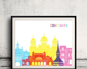Constanta skyline pop - Fine Art Print Glicee Poster Gift Illustration Pop Art Colorful Landmarks - SKU 2447