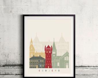 Esbjerg skyline poster - Fine Art Print Landmarks skyline Poster Gift Illustration Artistic Colorful Landmarks - SKU 2458