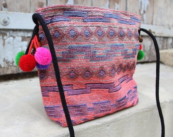 Boho bag, cross body bag, gypsy bag handmade boho bag sac femme boheme sacoche femme pom pons/valentine's gift present for her