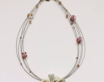 """Crystal"" Flower necklace - one size"