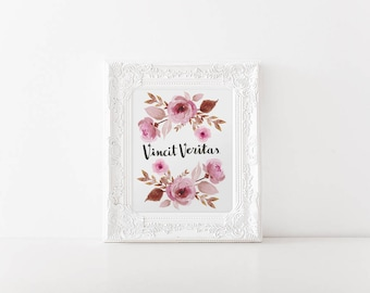 Retro Roses Latin Motto Poster - Watercolor Floral - Truth Prevails - Inspiration - Handlettering