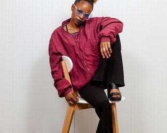 Vintage burgundy summer jacket / 90s oversized jacket / Vintage outerwear / Ladies purple summer jacket / Men's jacket / Size L