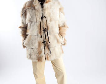 Goat fur jacket / White and yellow winter coat / Vintage real fur goat coat / Vintage eighties fur coat / Size S/M