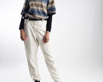 Highwaist 90s mom jeans / Beige vintage jeans / Cream highwaisted jeans / Women's nineties denim trousers / Beige boyfriend jeans / Size M