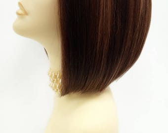 Short Dark Brown and Auburn with Copper Highlights Lace Front Heat Resistant Wig. [39-216-Sofi-4/27/30]