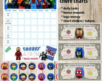 Kids Chore Chart,Lego Superhero Planner,Kids Reward Chart,Responsibility Chart,Positive Behavior Chart,Star Chart,Kids Planner,Weekly Chart