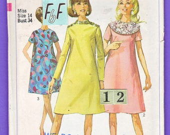 1960's Easy, loose, Tent Dress Sewing Pattern/ Simplicity 7339 Women's Mod, short maternity dress Sewing Pattern/ Size 12 14 Bust 34