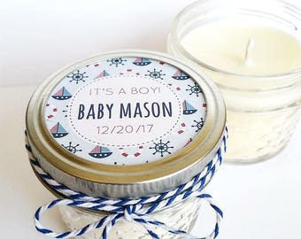 50 Baby Shower Favor Candles | Mason Jar Favors | Rustic Favors | Nautical Baby Shower | Custom Baby Shower Favor | Baby Shower Candles