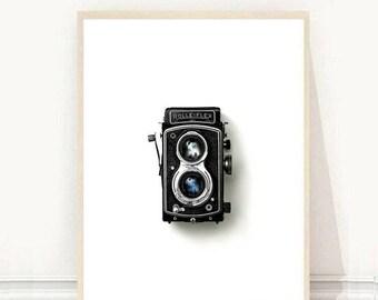 Vintage Camera Print, Camera Printable, Printable Wall Art, Minimalist Art, Black And White Print, Wall Decor, Instant Download