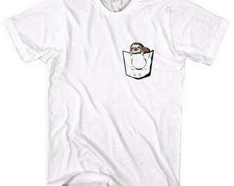Sloth Pocket T-Shirt, Funny Sloth, Cute Sloth, Tee, Tshirt, Shirt, Hipster, Fake Pocket, Sloth Animal, Top, Swag,