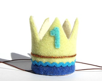 1st Birthday  Crown   Baby Boy Birthday Crown   Prince   King   Felt Crown   Light Yellow Crown   Blue Birthday   Handmade Crown   Gift