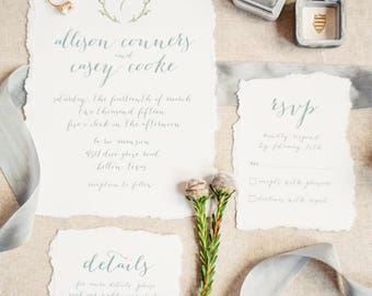 Personalised Printable Wedding Invitation Set; Invite, RSVP, Details Card, Allison Collection