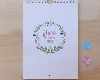 Flora & Fauna Calendar 2018 - beautiful illustrated calendar  - A5 (small size)