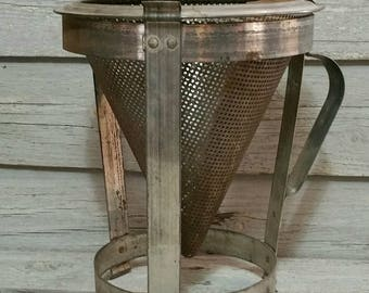 Vintage Aluminum Food Sieve, Fruit Press With Wooden Pestle, Cone Shaped Colander, Farmhouse Decor