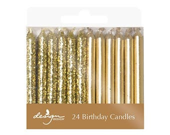 Gold Birthday Candles - Party Candles - Gold Party Supplies - Glitter Candles - Cupcake Candle - gold birthday candle - gold birthday theme