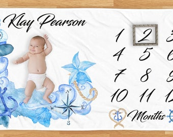 Milestone Blanket for Boy | Months Blanket | Baby Milestone Photo Prop | Blanket for Baby Monthly Pictures | Monthly Milestone Blanket