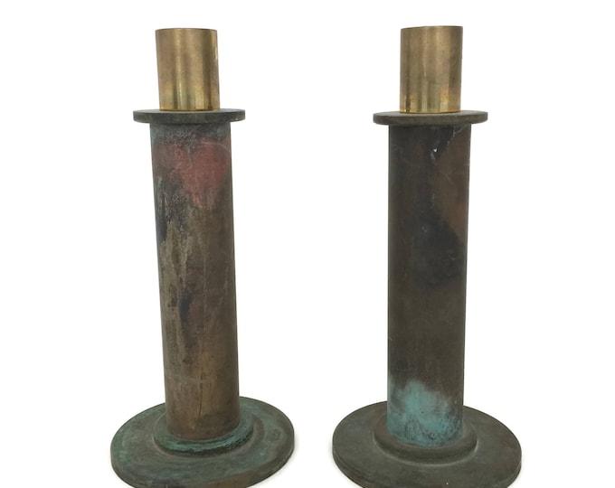Rustic Brass Candlesticks with Verdigris