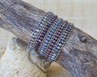 Beaded Leather Wrap Bracelet: Burgundy & Gray/5 Wrap Bracelet/Crystal Wrap Bracelet/Layering Bracelet/Statement Bracelet/Gift for Her/OOAK