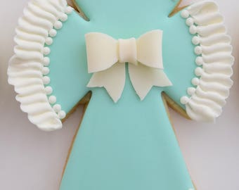 12 First Communion Cross, Baptism, Christening  With Bow and Ruffle Cookies - 1 Dozen of Cookies -