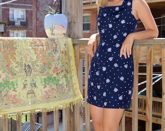 vintage floral navy dress