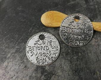 Moon pendant, love beyond moon stars round pendants, silver Metal, the 38 mm