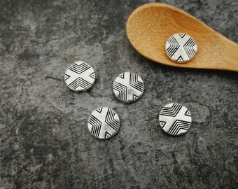 Ethnic beads, round beads pucks geometric, separator beads, silver, 11 x 3 mm