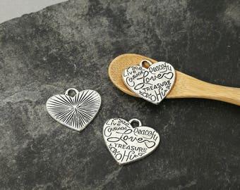 Heart pendant, friendship, silver, love pendant 23 x 22 mm