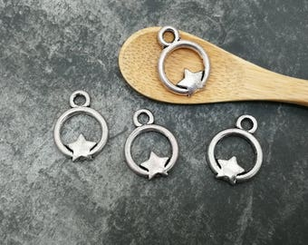 5 pcs round hoop charms and antique silver, 20 x 15 mm brass star