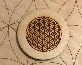 Flower of Life - Sacred Geometry Wood Magnet - 2 inches