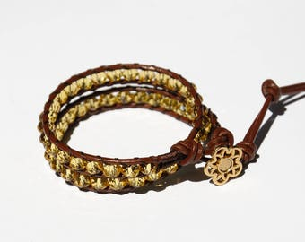 Sister Gift|for|her Wrap bracelet Beaded Bracelet Crystal Beads Bracelet Boho Bracelet Leather Cord Bracelet Golden Crystal Bracelet for her
